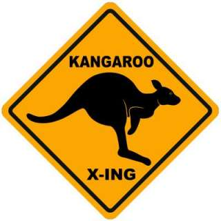 Aussie kangaroo Xing sign design in yellow and black. Replica of the