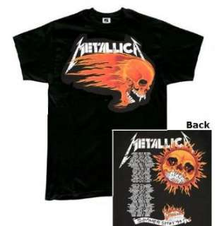 Metallica Flaming Sun two sided black t shirt Clothing