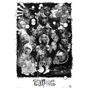 Tupac Collage Rap Hip Hop Music Poster 24 x 36 inches