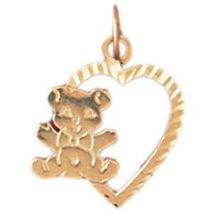 14kt Yellow Gold Heart With Teddy Bear Pendant Jewelry