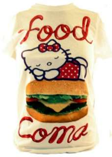 Hello Kitty Ladies T Shirt  Sleeping on a Burger Food