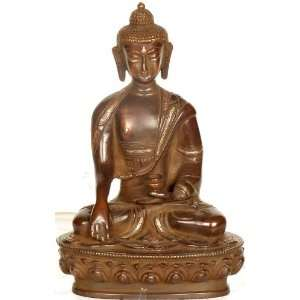 Bhumisparsha Buddha on Lotus Throne   Brass Sculpture with