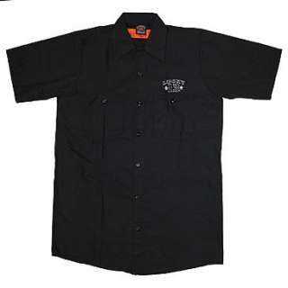 New Punk Rockabilly Lucky 13 Hot Rod Mens Black Work Shirt 4XL