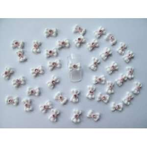 Nail Art 3d 40 White/Pink Flower BOW /RHINESTONE for Nails, Cellphones