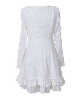Vintage Lolita Beaded Peter Pan Collared Long Sleeve Lace Dress