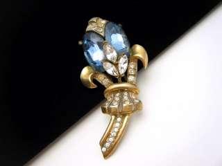 CoroCraft Sterling Fur Clip Gold Vermeil Glass Rhinestones WWII Era