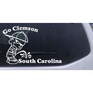 White 3in X 4.7in    Go Clemson Pee On South Carolina Car Window Wall