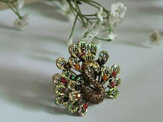 Vintage Design Colorful Rainbow Crystal Rhinestone Gold Tone Peacock