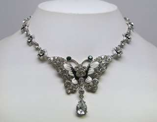 Clear Crystal Butterfly Necklace Earrings Set s0466