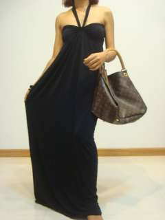 Party Summer Black Halter Maxi Dress Sz M L XL 8 10 14