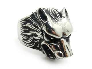 Mens gothic wolf hammer akuro silver stainless steel finger ring PUNK