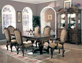 SAINT CHARLES FORMAL DINING TABLE SET 7 PIECE DOUBLE PEDESTAL