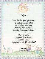 100 years from now Nursery Poem Prayer Personalized