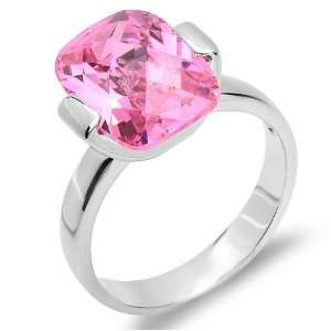 6.50 CT Sterling Silver Ladies Cushion Pink Sapphire Cubic