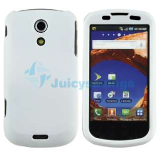 White Hard Cover Case+Car Charger+Cable+Privacy LCD Guard For Samsung