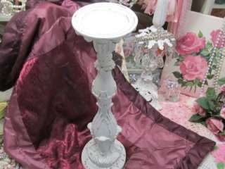 SHABBY TALL ORNATE PILLAR CANDLEHOLDER~Cottage~Chic~French~Country