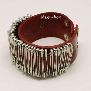 Leder Armband mit Sicherheitsnadel Punk Rock Gothic