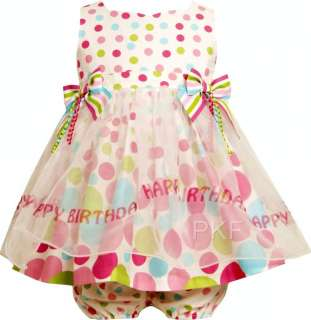 Baby Girls BRIGHT BIRTHDAY DOT Size 12M Dress 2pc Clothes NWT