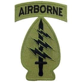 PATCH SPECIAL FORCES AIRBORNE SUBDUED GREEN ARMY CAP HAT JACKET PATCH