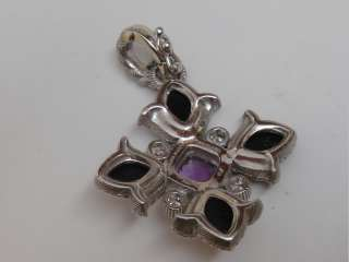 Judith Ripka Purple Black Quartz CZ .925 STERLING SILVER Pendant Charm