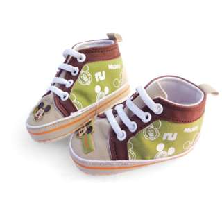 Infant Baby Toddler Boys Green Mickey Mouse Canvas Shoes 3 18 months
