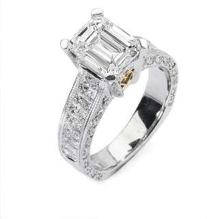 48 Ct Emerald Cut Diamond Engagement Ring Platinum