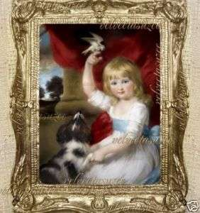 Girl Dog Bird Dollhouse Picture 1700s Dolls House Art