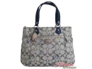 Coach Poppy Grey Blue Signature Logo Glam Tote Handbag 18711