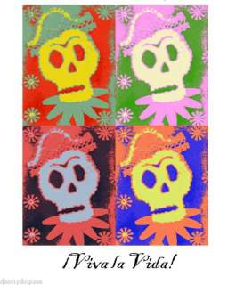 12 Blank Note Cards SKULL POP ART Dia de los Muertos