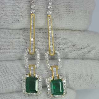 8000 $ price sale 18k Gold Natural Emerald Diamond Ladies Earrings