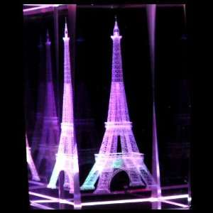 Eiffel Tower 3D Laser Etched Crystal includes Two Separate