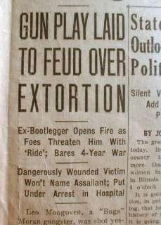 BEST 1928 Chicago newspaper headline BUGS MORAN GANG Gangster partner