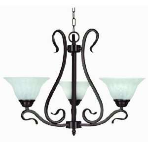 Yosemite Home Decor 8733 3DB Dogwood 3 Light Chandelier, White Fluted