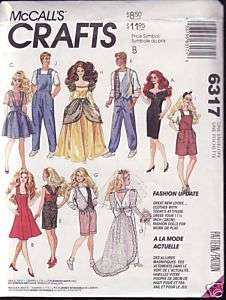 McCall Barbie and Ken Fashion Doll Clothes Pattern 6317