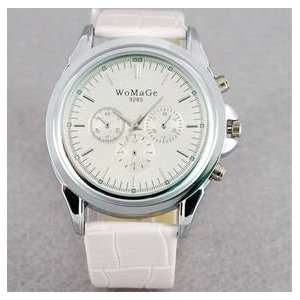 Band Mens Electronic Quartz Wrist Watch (White)