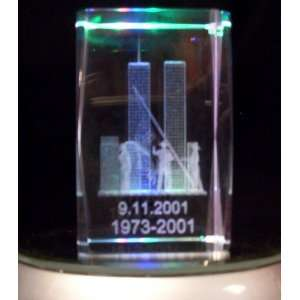 Laser Etched Crystal Cube 911 Twin Towers Home & Kitchen