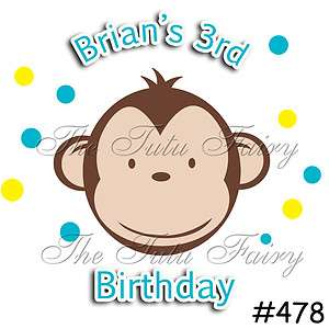 mod monkey boy birthday shirt blue yellow personalized name age 1 2 3