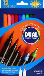 12 DUAL BRUSH MARKER PENS~ SCRAPBOOKING, ART