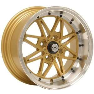 15x8 Axis Oldskool (Gold w/ Machine Polished Lip) Wheels/Rims 4x100