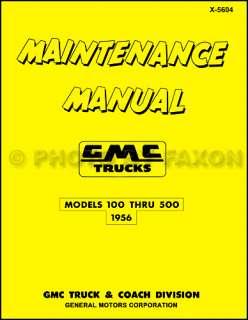 1956 GMC 100 500 Pickup and Truck Repair Shop Manual 56 Pickup Panel