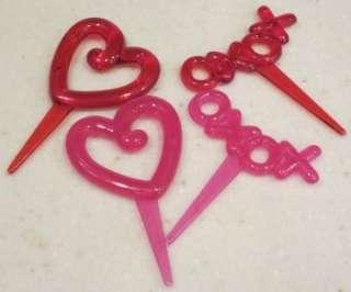 48 Heart & XOXOs OR LOVE Red Pink Cupcake Picks Valentine Shower