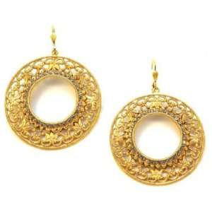 Catherine Popesco 14k Gold Plated Filigree Dangling Hoop Earrings with