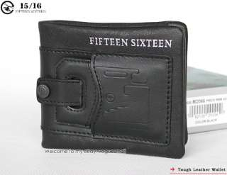 Mens Black Genuine Leather Wallet multifunctional purse 2066