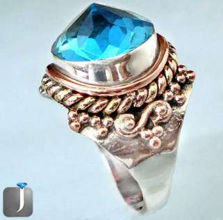 size 9 BLUE TOPAZ QUARTZ DOME VICTORIAN ROSE GOLD 925 STERLING SILVER