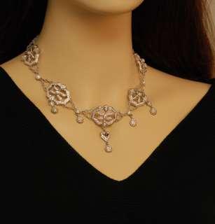 Doris Panos 18K White Gold Diamond Filigree Necklace