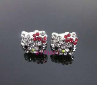 Kitty red bow lovey full crystal earring earbob xams gift E32