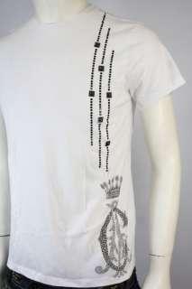 Christian Audigier Rhinestones Logo LUX T Shirt Tee Wht