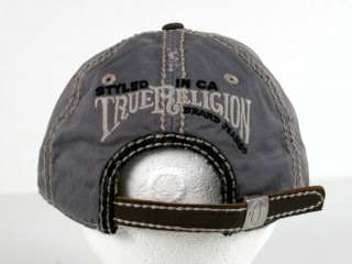 True Religion Jeans COIL Horseshoe Black Plaid CAP hat leather TR1409