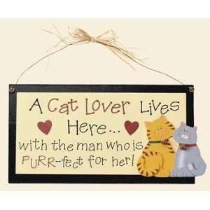 Cat Lover Lives Here Sign   Party Decorations & Wall
