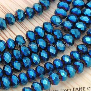 4x6mm Blue Faceted CrystaL Glass Rondelle Loose Beads Jewels